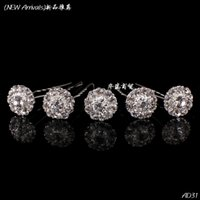 Wholesale Clear Crystal Rhinestone Flower Hair Pin Clips Women Girl Wedding Hair Jewelry