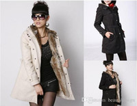 Wholesale Cheap Ruffle Coat - cheap winter coats for women Faux Fur Lining Women's Beige Fur Coats Winter Warm Long Coat Drop Shipping