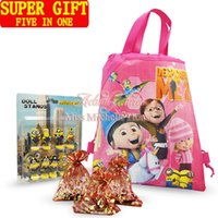 backpack stand - Five in One Super Gifts Suit Christmas New Year Party Gifts Despicable Me Minions Spring Stand Dolls Kids Bags Backpacks Keychains Magnets