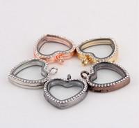 Wholesale Heart Shape magnetic glass floating charm locket Zinc Alloy Rhinestone