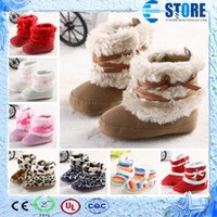 Wholesale Winter Baby Snow Boots Fur Knitted Wool Thicken Warm Toddler Boy Girl Kids Shoes First Walker Infant Newborn Baby Shoes wu