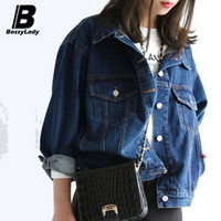 Cheap Wholesale-Boyfriend style Fashion Denim Women Jacket Loose Long sleeve Short Coat Autumn Outerwear Jeans S M L XL Casaco Feminino