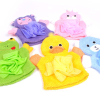 Wholesale Promotion Bath Gloves Child Bear Dog Bathe Rub Towel Flower Toddler Mixing Color Fast delivery