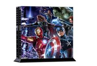 Cheap 1Set Super Heroes Game for PS4 Console Skin Stickers for PS4 Console + 2 Pcs Vinyl decal Skin Stickers For PS4 Controller Games
