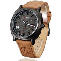 Cheap CURREN brand watch Japan movement analog genuine leather watch men calendar date dress wristwatch 30m waterproof