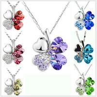 clover necklace - 20pcs colors petal necklace Four Leaf Clover crystal rhinestone necklace cm