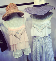 Wholesale Summer new small fresh retro flower pattern embroidery was thin loose hem chiffon double strap camisole
