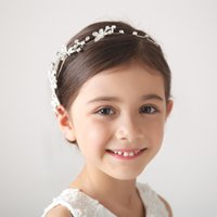 bandana accessories - 2015 Elegant White Baby Hair Princess Crown Accessories Large Rhinestones Floral Girl Hairband Korean Style bandana