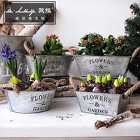 Wholesale Retro Hemp rope handle iron flower pots creative Succulents flower pot Flower barrels