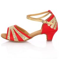 Wholesale 2016 new red gold sequins for women and children dance Latin dance shoes girl dancing shoes company