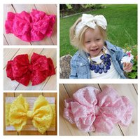 lace headbands - Free DHL Baby Headbands Big Bow Lace Headband Baby Girl Flower Headband Elastic Hair Bands Girls Hair Accessories Fashion Headwraps