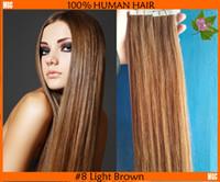Nouvelle arrivée Ruban dans les extensions de cheveux cheveux remy indien Prix de sortie d'usine Facile à utiliser Bricolage Double Sided # 8 Light Brown Straight