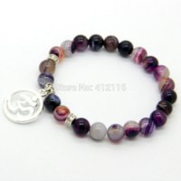 beaded chain braclets - 2014 New Arrival Jewelry mm Beaded Natural Purple Agate Stone Beads OM Hamsa Yoga Braclets Best Gift for men and women