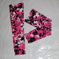 Wholesale Pink black white baseball awareness arm sleeve Moisture Wicking Compression Sports Digital Camo Baseball Flame skull