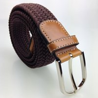 elastic belt - 2015 high fashion stretch woven casual braided belt for men with pin buckle elastic male belts