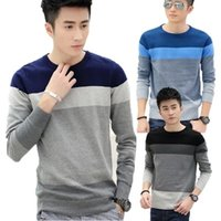 Wholesale 2015 new stylish crew neck pullover for fall winter mosaic stripe slim Korean leisure sweater