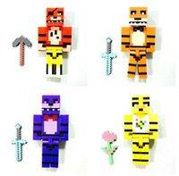 Wholesale 2 inch FNAF Figures Set Kids Bulding Blocks Freddy Fazbear Bonnie Chica Foxy Minifigures Dolls Five Nights At Freddy s DIY Model Toys