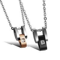 acrylic characteristics - personalized titanium steel couple necklace with a chain containing cross sectional effects wear characteristics GX947