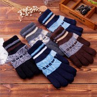 best ski gloves - Cool Snow Winter Warm Woolen Male Gloves Knitted Black Gray Full Finger Men Mittens Ski Outdoor Guantes Best Gifts