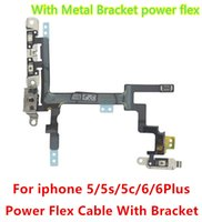 apple power button - 100 Original for iPhone G S C Plus Power Button Switch Sleep Wake Volume Mute Button Flex Cable Metal Brackets