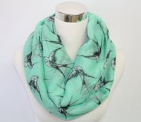 Wholesale swallow Print Infinity Scarf Bird Scarf Mint Bird Scarf Loop Scarf with flying swallows Big bird prints