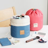 nylon cosmetic bag - 2015 New Arrival Barrel Shaped Travel Cosmetic Bag Nylon High Capacity Drawstring Elegant Drum Wash Bags Makeup Organizer Storage Bag