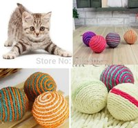Wholesale FD1006 Pet Dog Cat Kitten Teaser Playing Chew Rattling Sound Toys Rope Ball PC
