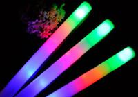 50pcs lot led mousse stick clignotant mousse bâton lumineux jusqu'à mousse bâton de mousse bâton de lueur stick led