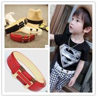 kids belts - Fashion PU Leather boys girls designer belt boutique L71cm W3cm children belts kids buckles T Black White Red H brand designer Buckles