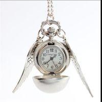 al por mayor de bolsillo antiguo reloj de plata-Moda Mujer hombres Señora Silver Wing Silver Bronce Ball Alas Harry Potter Antique Steampunk Pocket Watch