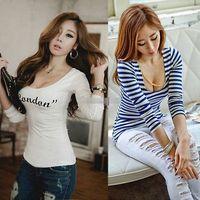 bamboo t-shirt - NEW Fashion Womens Long Sleeve Stripe T shirt Tops summer letter print casual t shirts