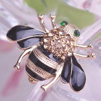 bee brooch pin - ashion Jewelry Brooches Perfecto Shiny Topaz Austrian crystal Bee Brooch Noble Gold Christmas Pins Trendy Enamel Broaches collar Women Jo