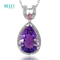 Wholesale Natural multicolored Amethyst Pendant in Sterling Silver Rose Quartz women s fashion atmosphere simple pendant
