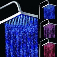 Wholesale Waterfall faucet LED square Shower Head Colors flashing LED Light Shower head Hot Selling