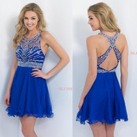 Wholesale 2016 New Royal Blue Cheap Short Party Dresses Halter Beaded Cross Back Chiffon A line Homecoming Dresses Mini dresses prom