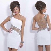 Wholesale Discount Dazzing Crystal Prom Dress Cheap See Through Party Gowns Sexy Beads Backless Short Mini One Shoulder Sheath Cocktail Dresses