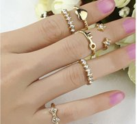 Wholesale 6pcs set Gold Plated Bowknot Heart midi Finger Rings Set Crystal Brand design infinity knuckle Rings high quality factory price