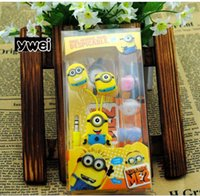 apple bobbin - new despicable me more minons cartoon cube mobile MP3 MP4 earphone with bobbin winder for children gift