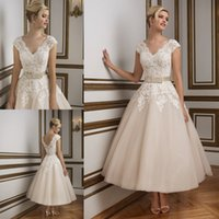 Wholesale Elegant Short Tea Length Wedding Dresses Justin Alexander Sexy Lace Garden Beach Bridal Gowns V Neck Bow Sash Cheap Tulle Custom Made