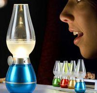 Wholesale Fashion New LED Retro Lamp Lamps Novelty Lighting USB Rechargeable Blowing Kerosene Adjustable Blow On Off Night Light Home Decroration