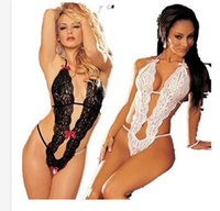 Cheap Hot Sexy Girls Woman Lingerie Floral Lace Teddy One-piece Underwear lady G-string dress White Black bra Sample