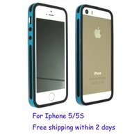 Wholesale Dual Hybrid Cell Phone Bumpers in Hard Bumper cases Dual color TPU PC back cover skin for iphone S Blue shiping within days
