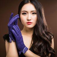 driving gloves - 2015 Brand New Fashion Women Genuine Suede Leather Gloves Winter Women Leather Gloves Lady Driving Leather Gloves