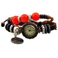 antique target - New Arrival Women Antique Bracelet Watch With Bead Rope Weave Cow Leather Band Target Pendant Ladies Vine Quartz Watch