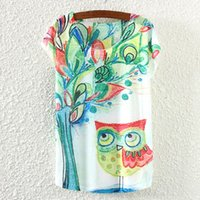 Cheap Cute Owl Animal Cartoon Print Women Shirts Hot 2015 New Summer Fashion Women T shirt Casual Short Sleeve Tees