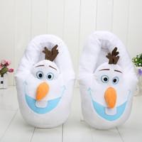 plush slippers - 28cm Olaf Cartoon Plush Slipper Plush Stuffed Slippers Cuddly Fluffy Collectible