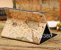 Nouvelle conception de la marque Map Standing Leather Leather Case for iPad Air / iPad 5,50Pcs / lot, haute qualité Livraison gratuite