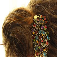 Wholesale 1pcs Vintage Womens Colorful Rhinestone Peacock Barrette Hairpin Hair Clip New YKS
