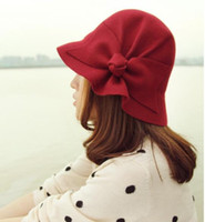 Wholesale Korean version of the big bow autumn winter faux wool felt hat collapsible bucket hats ladies elegant dome caps