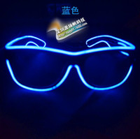 Wholesale Fashion EL Led glasses as Wedding Christmas Holiday Rave Costume Party Gift Bule Green Yellow Pink Red Purple Light TOPAA1274